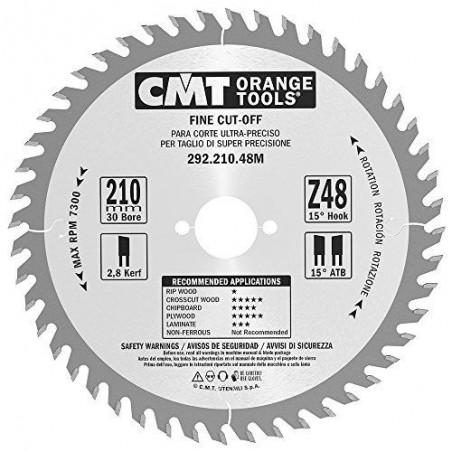CMT  Piła tarczowa do cięcia poprzecznego 292.210.48L HM 210x25x2,8/1,8 Z-48